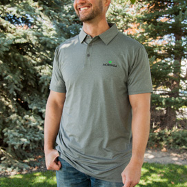 Men's Morinda Gray Polo Shirt Photo