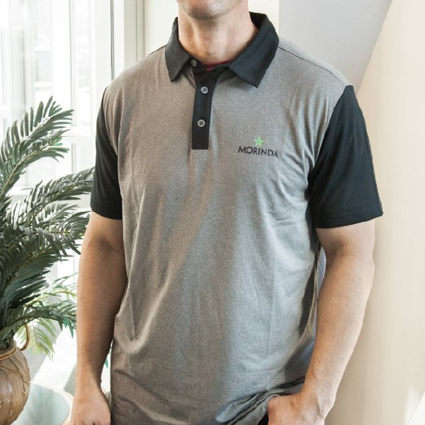 Men's Morinda Black and Gray Polo Shirt Photo