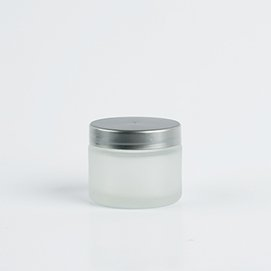 50 ml Frosted Glass Jar with Silver Cap Photo